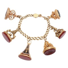 Antique Victorian Six Fob Gold Charm Bracelet