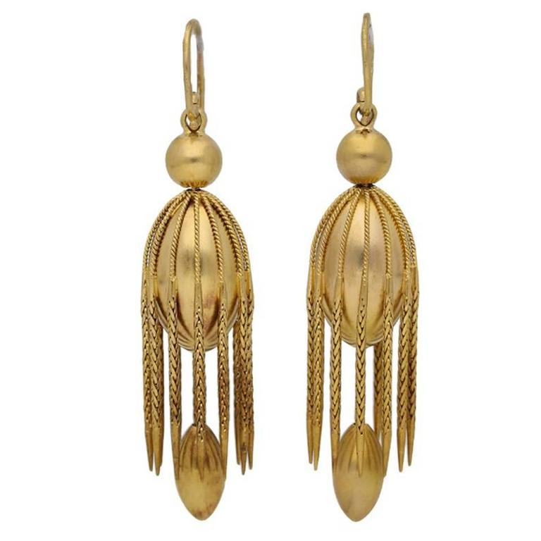 Antique Victorian English gold fancy drop earrings