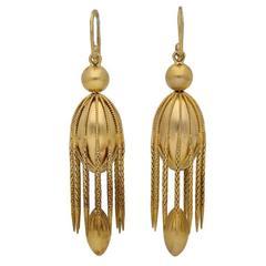 Antique Victorian English gold fancy drop earrings