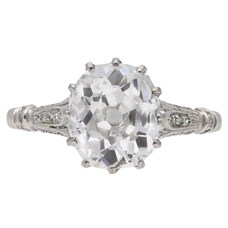 1920s Art Deco old mine 2.45 carat diamond platinum solitaire ring