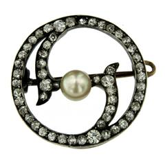 Victorian Diamond Pearl Gold Pendant/Brooch