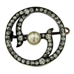 Victorian Diamond Pearl Gold Pendant/Brooch