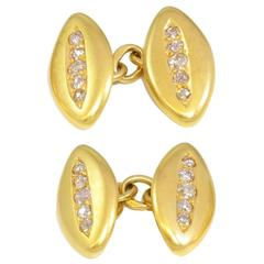 Antique Victorian Diamond Gold Set Cufflinks