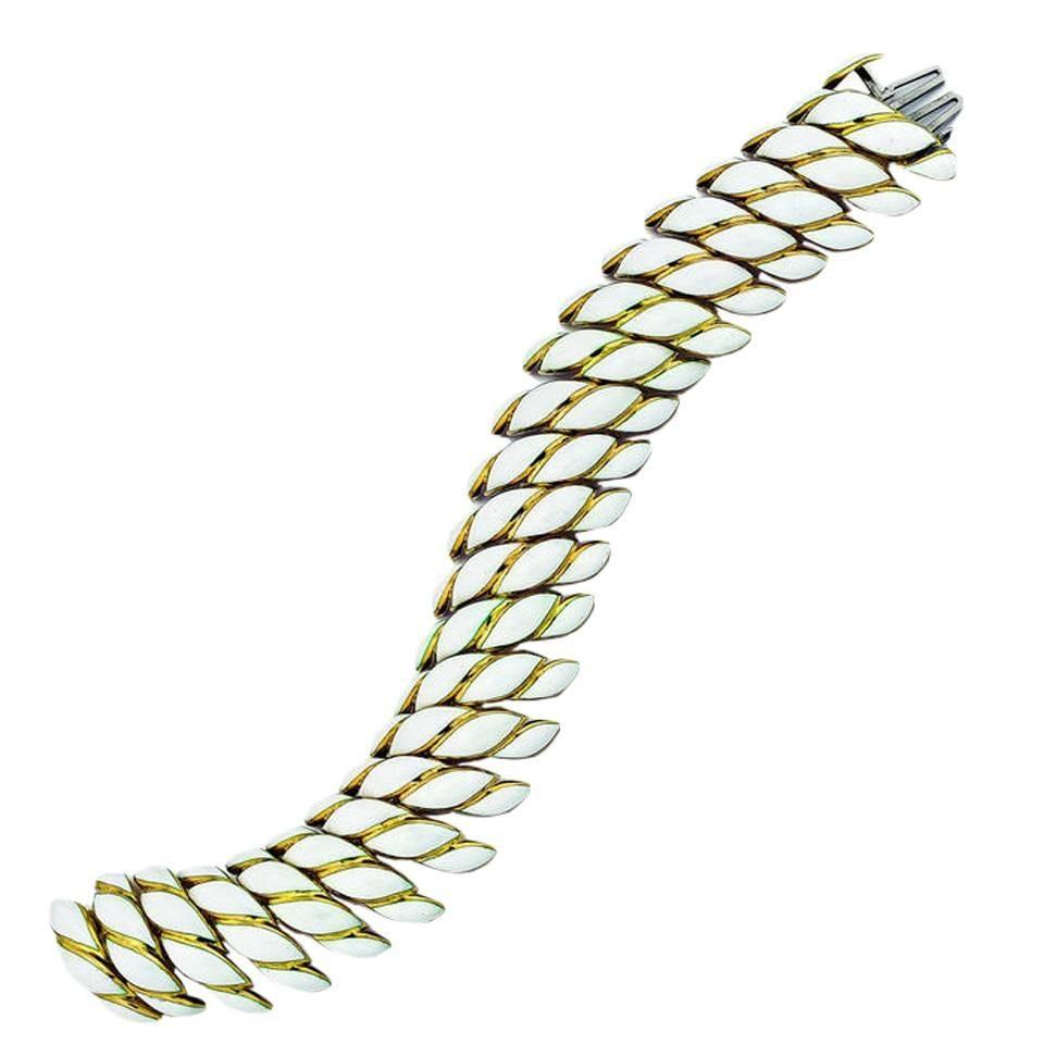 David Webb 18K Gold White Enamel Bracelet