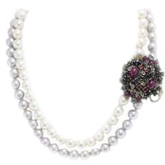 Luise Beaded Necklace with Gold and Silver Clasp