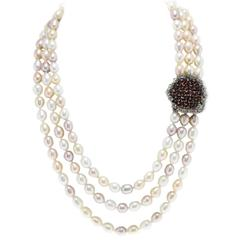 Luise Pearl Necklace with Gold and Silver Clasp
