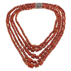Antique Italian Coral Necklace with Silver Clasp
