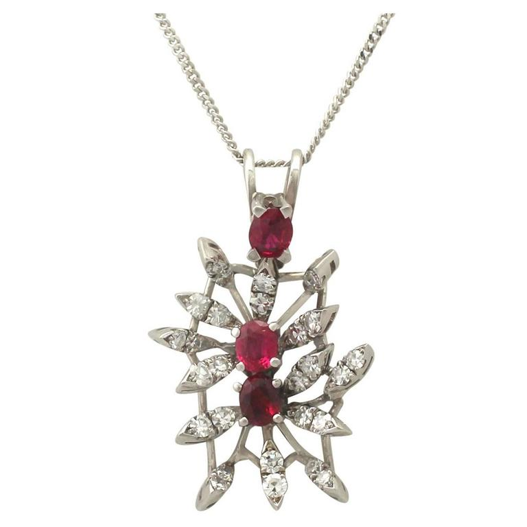 0.88 Carat Ruby and 0.69 Carat Diamond, White Gold Pendant For Sale