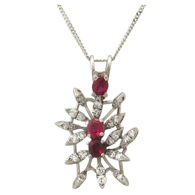 0.88 Carat Ruby and 0.69 Carat Diamond, White Gold Pendant
