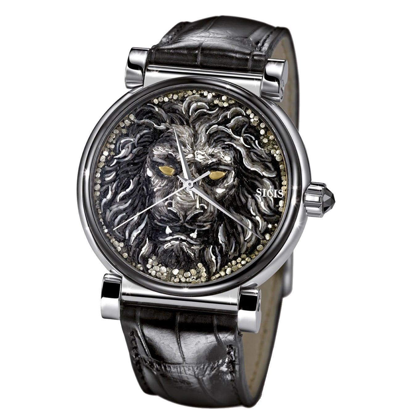 Stylish Automatic Wristwatch White Gold Black Diamond Alligator Strap NanoMosaic