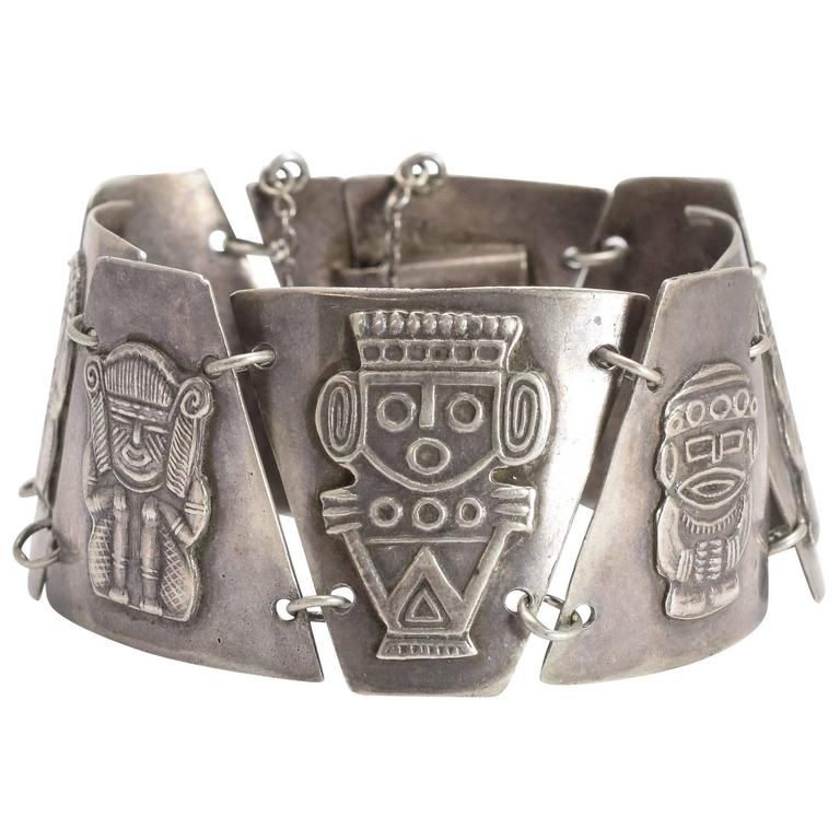 Vintage Silver Aztec Bracelet
