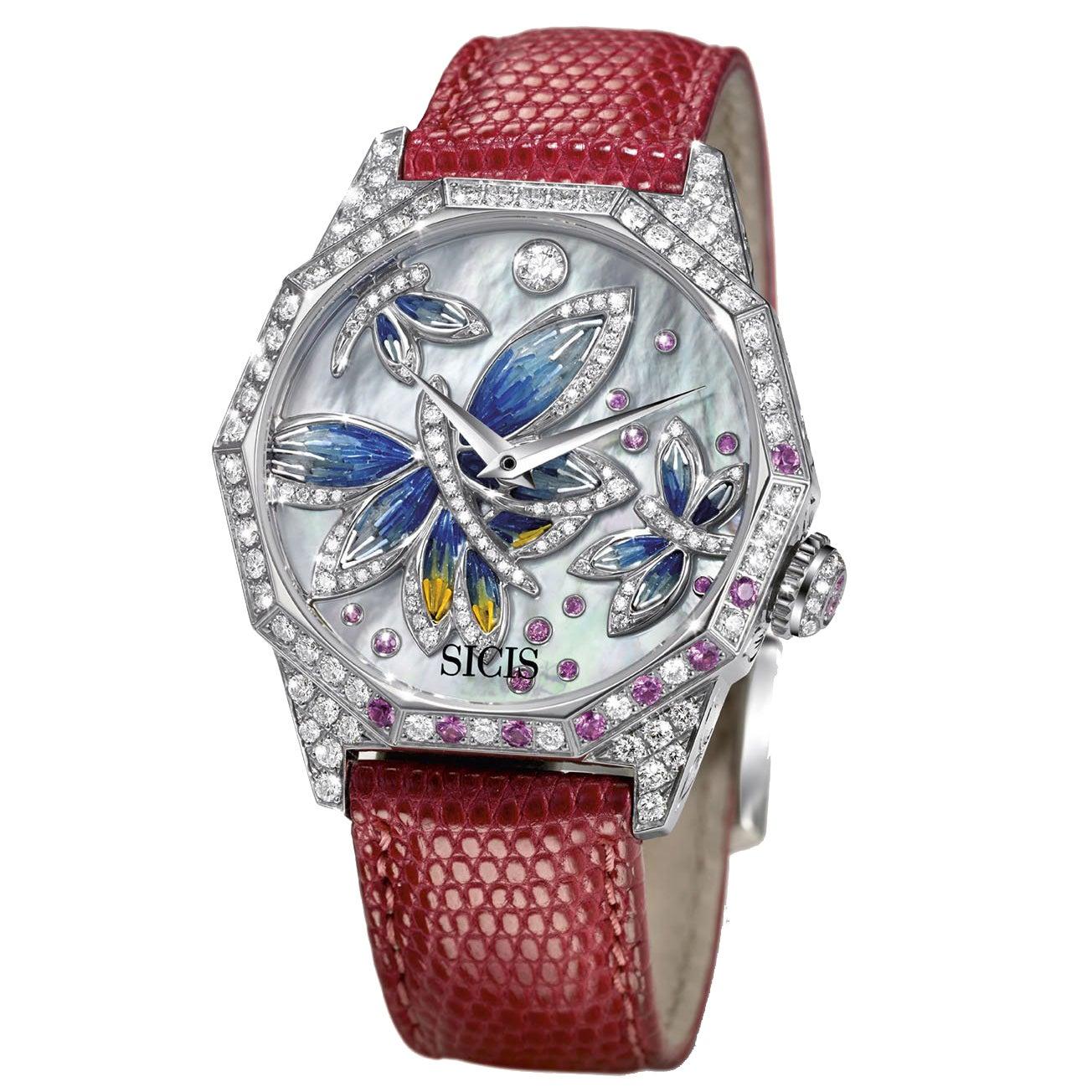 Stylish Automatic Wristwatch White Gold White Diamond Pink Sapphires Micromosaic