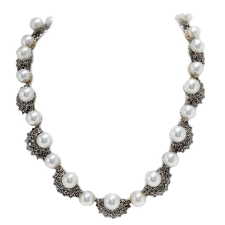 Sea Pearl 4.24 Carat Diamond Rose Gold and Silver Necklace