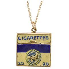 Vintage Enamelled Cigarette Box Charm Pendant