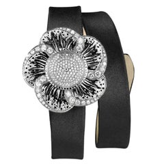 Stylish  Wristwatch White Diamond White Gold Mother of Pearl Dial Micromosaic