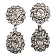 Antique Georgian Vauxhall Glass Cluster Earrings