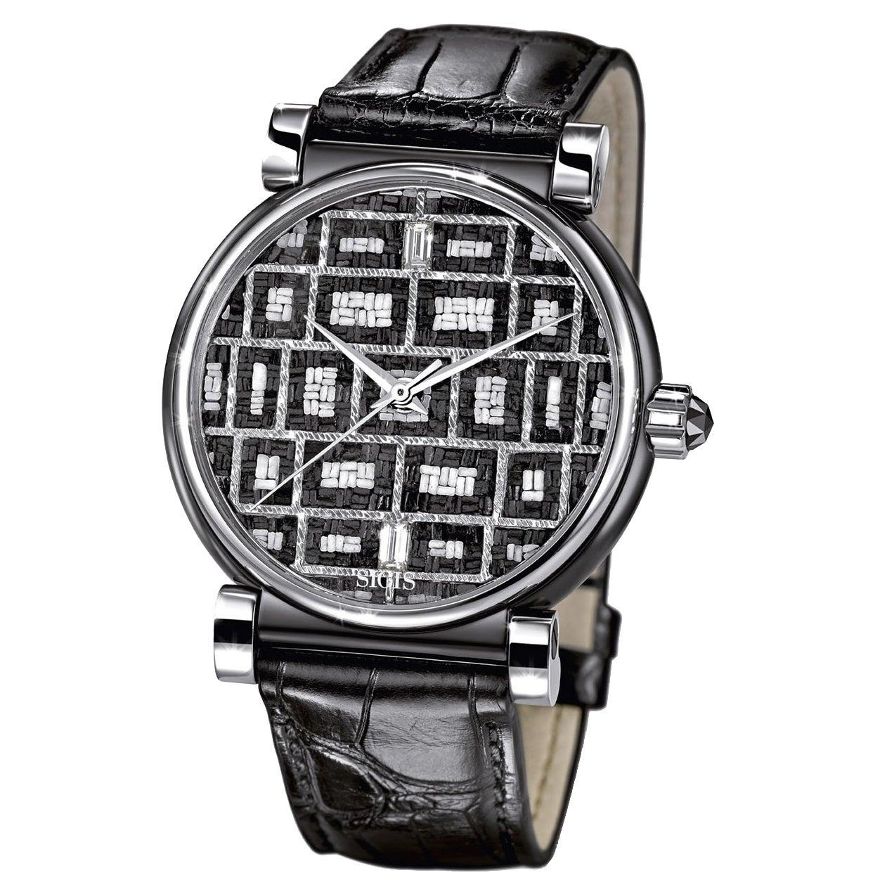 Wristwatch Stainless Steel Case Automatic Movement Black & White Diamonds