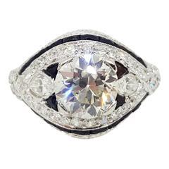 Art Deco Onyx Diamond Platinum Engagement Ring