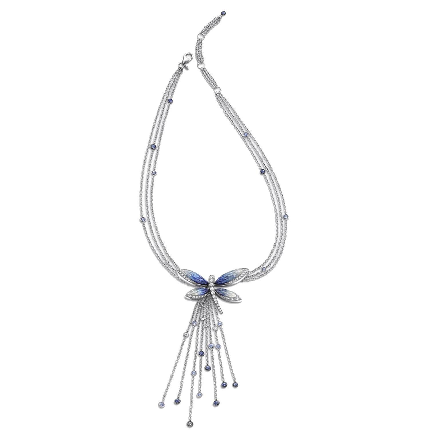 Stylish Necklace White Diamonds White Gold Sapphire Hand Decorated Micromosaic