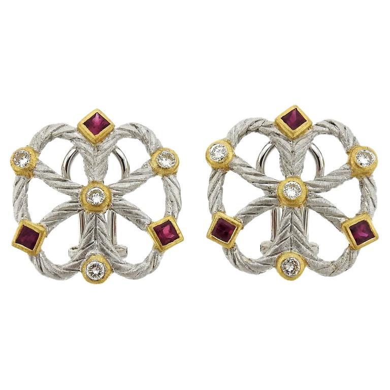 Buccellati Ruby Diamond Gold Earrings