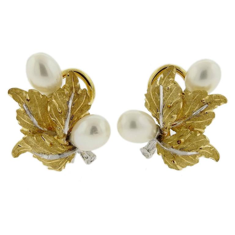 Buccellati Pearl Gold Leaf Motif Earrings