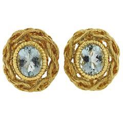 Buccellati Aquamarines Gold Earrings