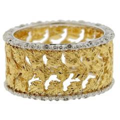 Buccellati Gold Leaf Motif Wide Band Ring