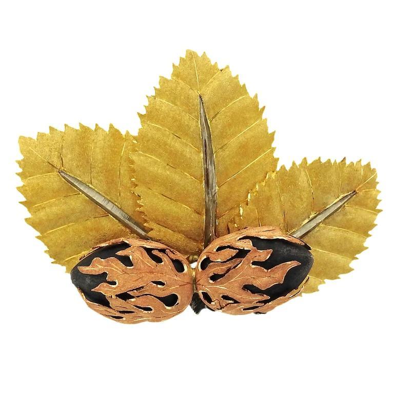 Buccellati Silver Gold Leaf Brooch Pin