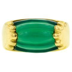 Bulgari Green Onyx Gold Tronchetta Ring