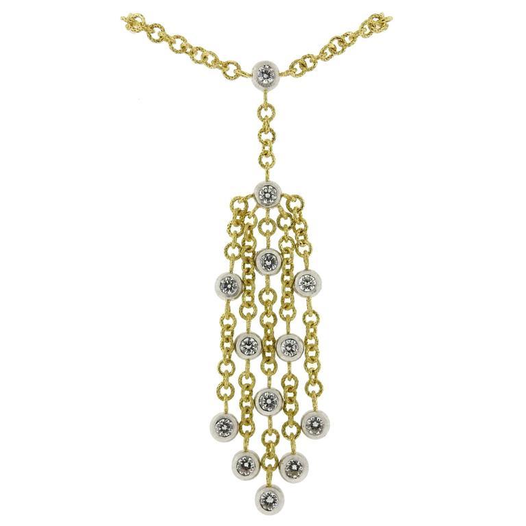 Buccellati Diamond Gold Tassel Pendant Necklace