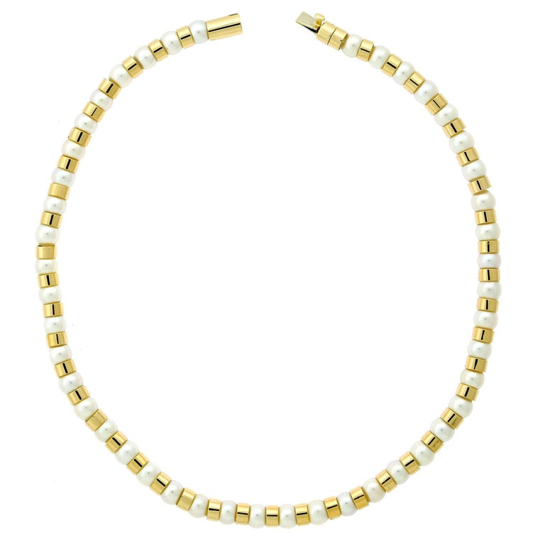 Chanel Pearl Bead Gold Necklace For Sale