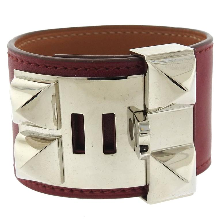 Hermes Collier de Chien Maroon Leather Palladium Hardware Bracelet