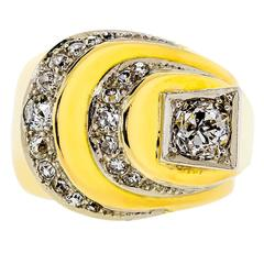 retro diamond and 14 karat yellow gold ring