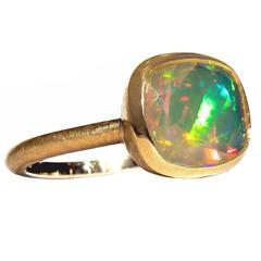 Geoffrey Good Faceted Sudanese Rainbow Opal One of a Kind Gold Ring