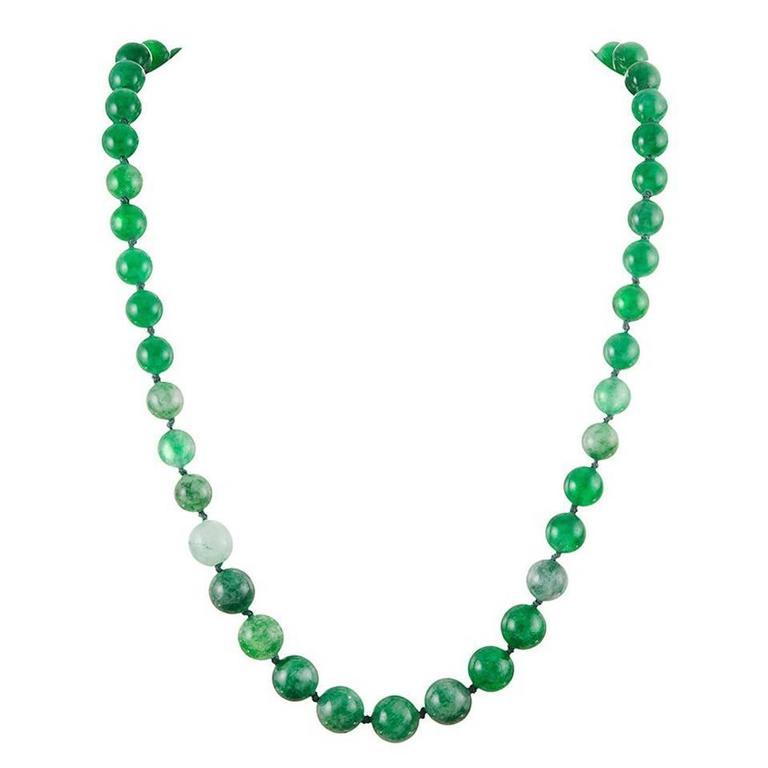 Jadeite Bead Necklace For Sale