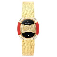 Patek Philippe Yellow Gold Diamond Coral Onyx Manual Wind Wristwatch