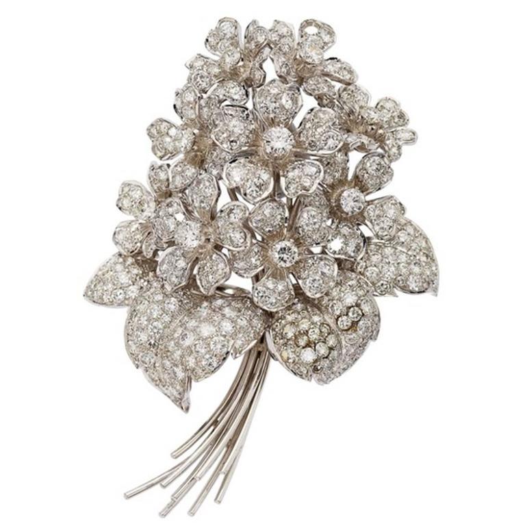 Diamond Gold Flower Bouquet Brooch