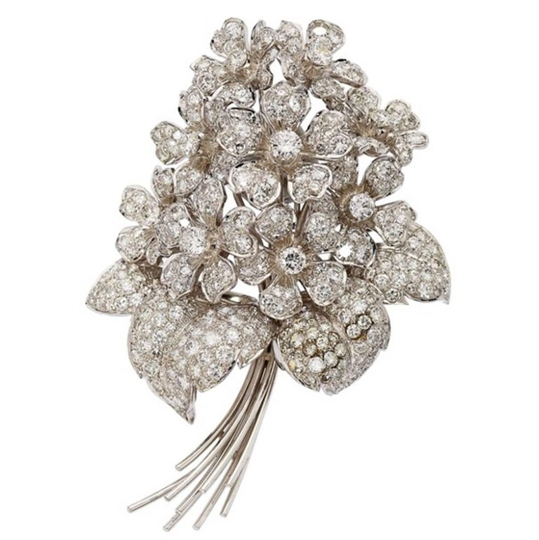 Diamond Gold Flower Bouquet Brooch For Sale