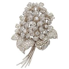 Diamond Gold Flower Bouquet Brooch
