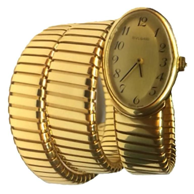 Bulgari Ladies yellow gold Tubogas Bracelet Wristwatch  For Sale