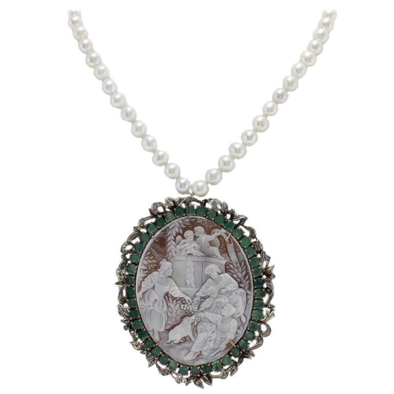 Cameo Pearl Silver Gold Necklace