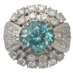 1950s 5.70 Carat High Zircon and 3.15 Carat Diamond White Gold Ring