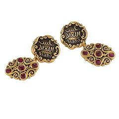 Marcus & Co. Art Nouveau Ruby Enamel Gold Cuff Links