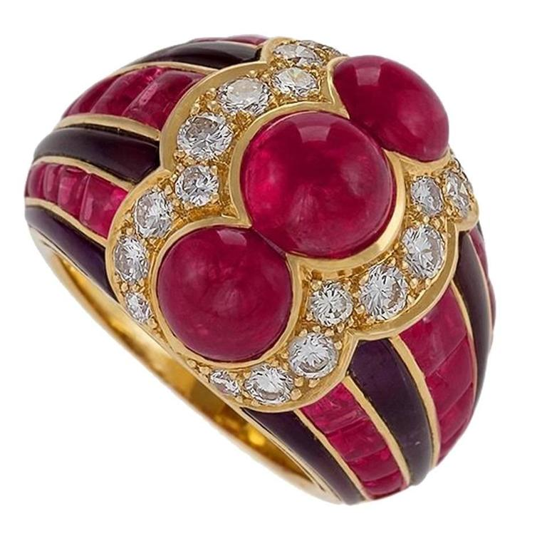 Bulgari 1980's Ruby Diamond Amethyst Gold Ring