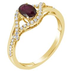 .55 Carat Oval Ruby Diamond Gold Engagement Ring