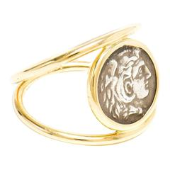 Dubini Alexander the Great Silver Coin Gold Ring