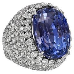 20.26 Carat Ceylon Sapphire Diamond Platinum Ring
