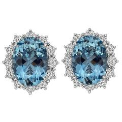 Betteridge Aquamarine Diamond platinum Cluster Earrings