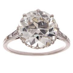 Art Deco 4.61 Carat GIA Old European Cut Diamond Platinum Engagement Ring