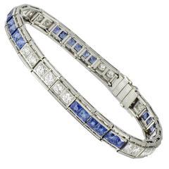 Art Deco Platinum Diamond and Sapphire Line Bracelet by: Howard H. Patch